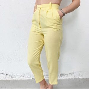 Vtg 80' High Waisted Yellow Cropped Pants Size 00